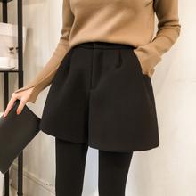 大码女装新式202ne6年秋冬装so腰显瘦微胖女孩穿搭阔腿短裤子