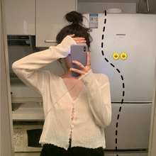 很仙的ne晒衫女夏季da袖V领针织开衫镂空花边室内外搭空调衫
