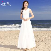 绿慕2ne20气质修da长式夏季女装大摆雪纺长裙仙