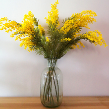金黄色ne0真花合欢go王樱花稻穗假花拍摄道具样板间美式花艺
