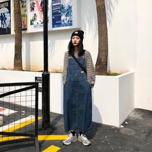 【咕噜ne】自制日系gorsize阿美咔叽原宿蓝色复古牛仔背带长裙