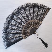 黑暗萝ne蕾丝扇子拍sh扇中国风舞蹈扇旗袍扇子 折叠扇古装黑色