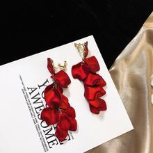 201nf新式耳环玫nw红色女长式耳坠气质银针无耳洞假耳钉