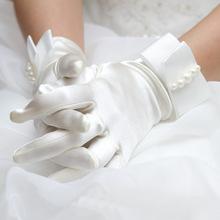 韩款女薄式白性感nf5雅新娘婚nw饰礼服旗袍演出缎面短式手套