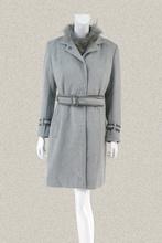 凯伦诗nfarensjp女冬貉子毛领羽绒两件套羊毛呢大衣141082/14106
