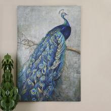 美式简ng纯手绘孔雀jx厅卧室客厅玄关壁画沙发背景墙装饰挂画