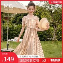 mc2ng带一字肩初oi肩连衣裙格子流行新式潮裙子仙女超森系