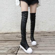高筒靴ni过膝皮面平ao新式厚底长筒皮靴百搭显瘦弹力皮休闲靴