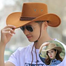 夏天户外帽ni2西部牛仔ko爵士帽马术帽垂钓遮阳帽大檐沙滩帽