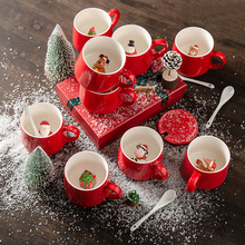 创意陶ni立体3D动kt杯子 咖啡牛奶杯带盖 情侣圣诞水杯