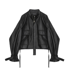 【现货niVEGA ceNG皮夹克女短式春秋装设计感抽绳绑带皮衣短外套
