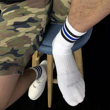 佐印男ni纯棉加厚条hi精英篮球运动吸汗中长筒毛巾底白袜子潮