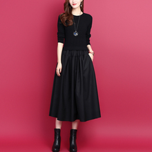 201ni秋冬新式韩hi假两件拼接中长式显瘦打底羊毛针织女