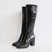 韩国东ni门衣玲女鞋os尚绒面高筒靴长靴粗跟骑士靴气质百搭潮