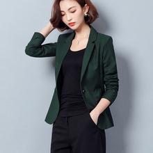 2021春秋新款(小)西装外套修ni11长袖休tz时尚墨绿色女士上衣