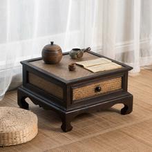 日式榻ni米桌子(小)茶tz禅意飘窗桌茶桌竹编中式矮桌茶台炕桌