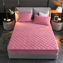 水晶绒夹棉床笠单件ni6尘加厚保tz席梦思保护套床罩全包定制