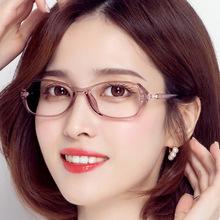 近视眼ni女可配度数tz辐射变色眼镜女镶钻全框优雅专业配镜女