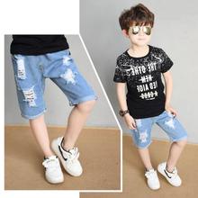 童装牛仔中裤夏季ni5式男童短tz时尚外穿休闲薄式破洞五分裤