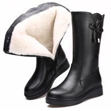 202ni冬季新式真ht加绒保暖羊毛靴平底防滑雪地靴厚底妈妈棉鞋