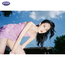EhKni2021春ht性感露背绑带短裙子复古紫色格子吊带连衣裙女