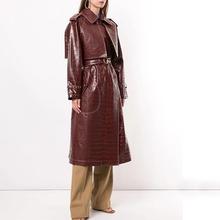 202ni精品女装新ht压花(小)羊皮风衣仿鳄皮纹浮雕束腰大衣外套