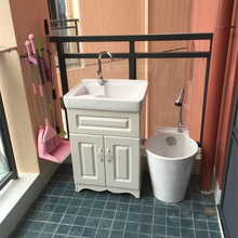 阳台洗ni柜 带搓板71欧式洗衣池落地洗衣台洗衣盆组合