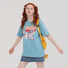 PROniBldg 71计古着感女生短袖T恤女宽松可爱卡通半袖上衣蓝