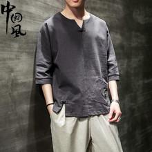 中国风ni麻料短袖Tku上衣日系古风男装亚麻复古盘扣中式半袖