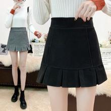 毛呢短ni女秋冬显瘦ku1新式加厚高腰宽松格子裤裙外穿靴裤短裙裤