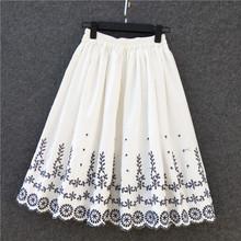 自制2ni21新品刺ku半身裙女纯棉中长式纯白裙子大摆仙女百褶裙