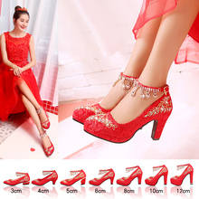 中式秀ni婚鞋女红色ev娘鞋钻石带高跟婚纱结婚鞋粗跟敬酒红鞋