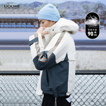 UOOniE情侣撞色os男韩款潮牌冬季连帽工装面包服保暖短式外套
