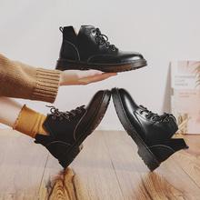 伯爵猫ni丁靴女英伦ai机车短靴真皮黑色帅气平底学生ann靴子