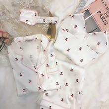NAGnjRL樱桃仿cb衬衫领睡衣四件套装女春秋眼罩吊带长袖家居服