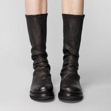 [njlzl]圆头平底靴子黑色鞋子女2