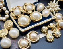 Vinnkage古董dc来宫廷复古着珍珠中古耳环钉优雅婚礼水滴耳夹