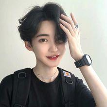 假发男nk发中分刘海qy卷发韩款帅气逼真学生黑网红同式全头套