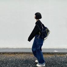 【咕噜喔】自nk显瘦日系宽qy风学生街头美款复古牛仔背带长裤