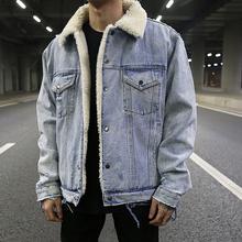 KANnkE高街风重tz做旧破坏羊羔毛领牛仔夹克 潮男加绒保暖外套