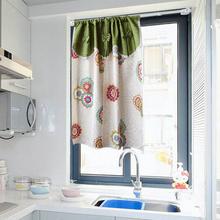厨房(小)nl贴免打孔置sc挡帘自粘橱柜装饰帘子