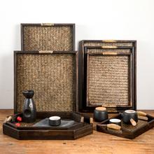 藤编复nm0家用茶盘gy长方形木质美容院酒店专用实木茶水盘