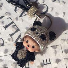 蒙奇奇汽车钥匙扣女韩国个nm9创意闺蜜ba高档情侣包包挂件