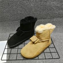 商场撤no断码处理真be冬季保暖牛反绒加绒短筒真毛毛靴