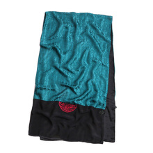 C23no族风 中式ap盘扣围巾 高档真丝旗袍大披肩 双层丝绸长巾