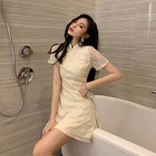 202no流行裙子夏ad式蕾丝改良旗袍仙女气质显瘦收腰性感连衣裙