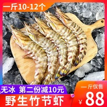 舟山特no野生竹节虾ar新鲜冷冻超大九节虾鲜活速冻海虾