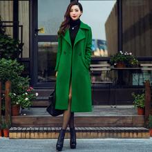 202no冬季女装欧hi西装领绿色长式呢子大衣气质过膝羊毛呢外套