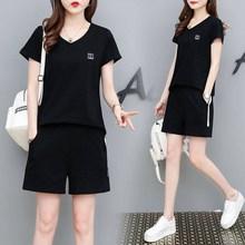 运动套装女夏2019新式时尚大码宽松no15mm短ot服休闲两件套