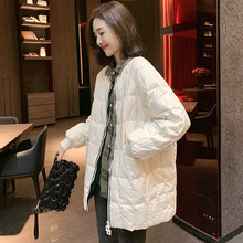 欧洲站no020冬装2p货女轻薄式亮面时尚白鸭绒中长式外套